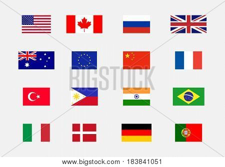 Set of National flag USA Canada Russia UK Australia Eu China France Turkey Philippines India Brasil Italy Denmark German Portugal.