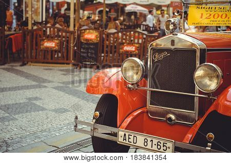 Vintage Cars In The Heart Of Prague  Tourists