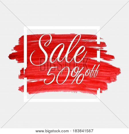 Sale, 50 Percent Off Lettering On Watercolor Stroke With White Frame. Red Grunge Abstract Background