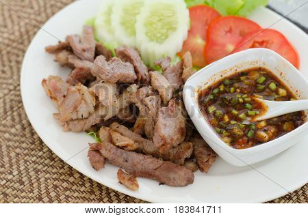 Charcoal-boiled pork neck and spicy sauce, Thai food