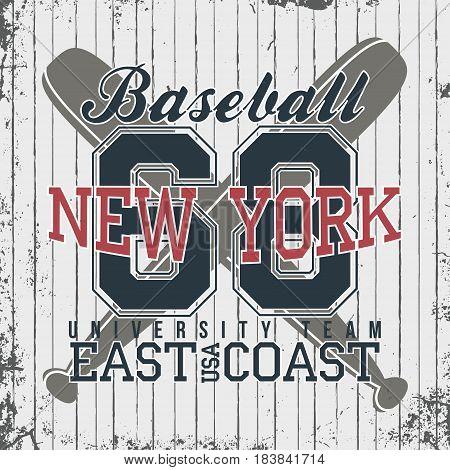 New York, Baseball Sportswear Emblem. Baseball Apparel Design With Lettering. T-shirt Graphics. Vect