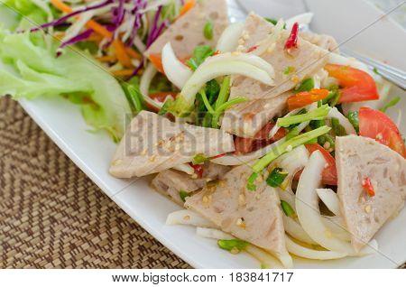 Spicy Vietnamese Sausage Salad Thai food name Yum Moo Yor