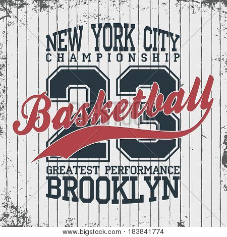 New York, Basketball Sportswear Emblem. Basketball Apparel Design With Lettering. T-shirt Graphics.