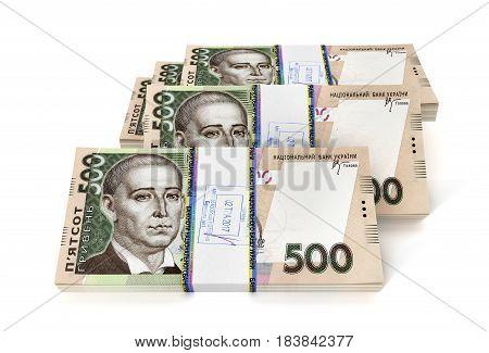 Ukrainian hryvnia new bills isolated on white background. 3D illustration.