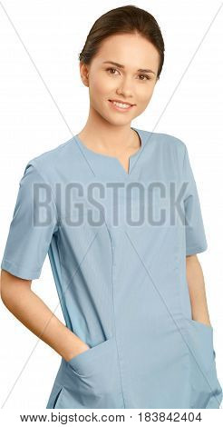 Female healthcare worker in scrubs with a stethoscope