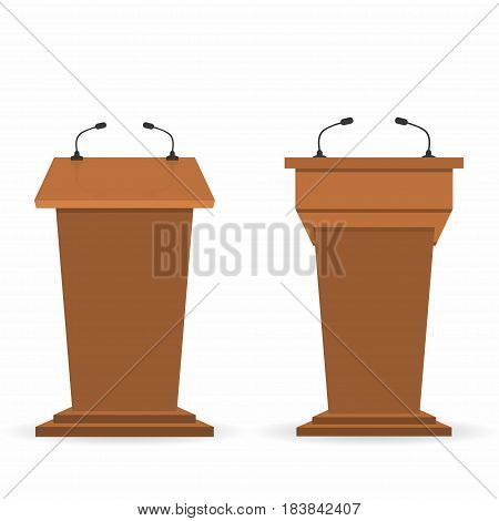 Wooden Podium Tribunes Set, Stand Rostrum With Microphones. Back And Front View From Audiences And R