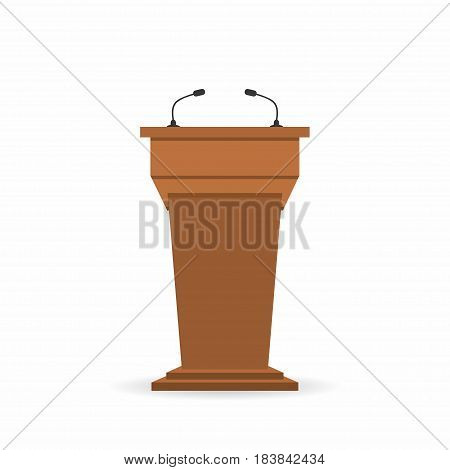 Wooden Podium Tribune Stand Rostrum With Microphones. Back View From Audiences Side. Vector Illustra