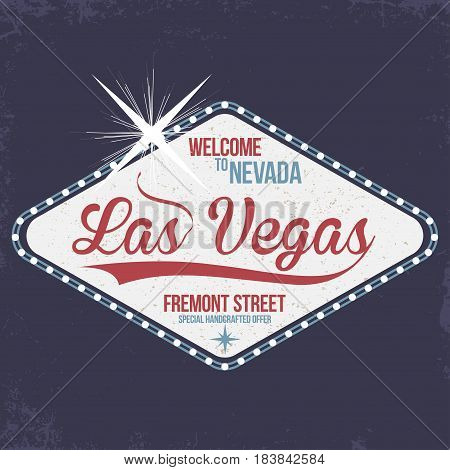 Las Vegas. Welcome to Nevada stamp with grunge. Vintage typography t-shirt graphics poster banner textile apparel. Vector
