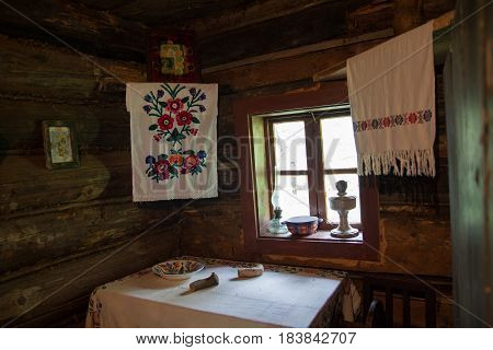 Retro interior of the dwelling of the Ukrainian peasant