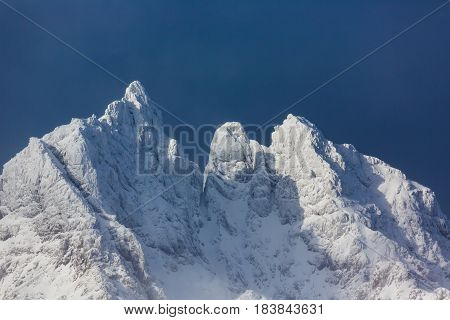 Snow-capped peaks of the Lofoten mountains in winter