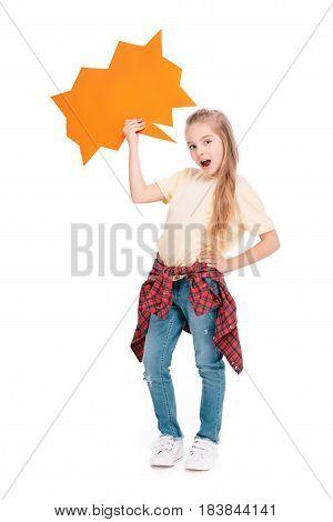Child Holding Speech Bubble