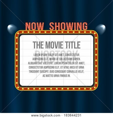 Cinema Signboard On Blue Curtain With Spotlights And Vintage Frame. Space For Text. Vector