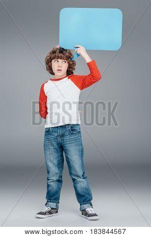 Little Boy Holding Speech Bubble