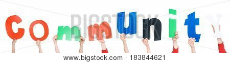 Kids hands holding colorful alphabet letters isolated on white Community concept