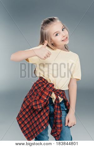 Girl Gesturing Thumb Up Sign
