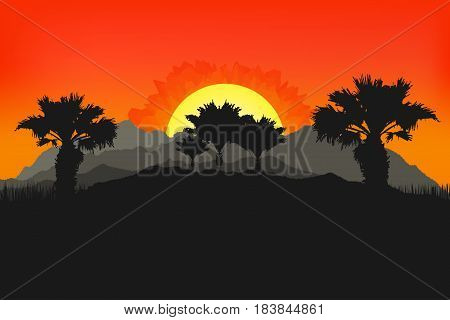 Californian Landscape With Palms And Sun. Sunset On Background. Mountains, Tropic Palms For Wallpape