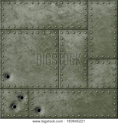 military metal plate and bullet holes 3d illustration