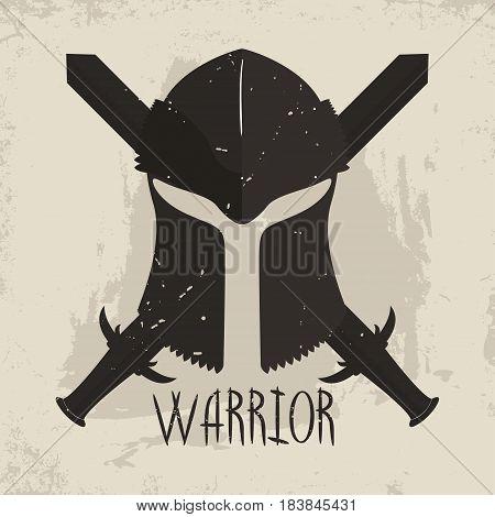 Spartan helmet with crossed swords and lettering Warrior. Greek warrior or gladiator emblem logo t-shirt design. Vector