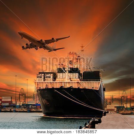 container ship and container in shipping port cargo plane flying above