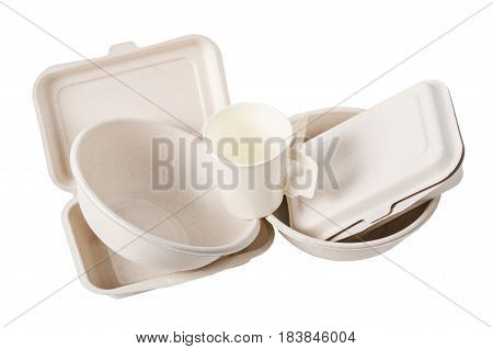 Group of product made from bagasse for container food Box bowl and cup. Isolated on white background Clipping path.