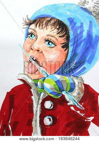 Colored illustration by markers: a girl in winter sucks an icicle icicle