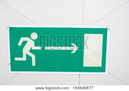 Orientation plate showing way to exit printed on paper