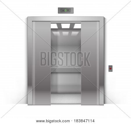 Vector Realistic Half-Open Chrome Metal Office Building Elevator Isolated on Background