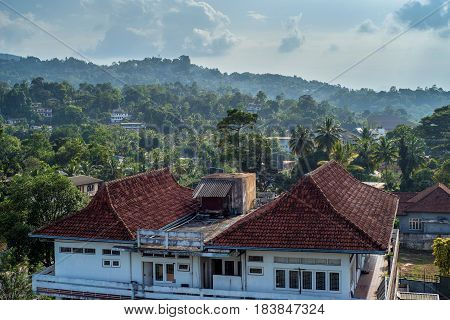 Panoramic scenic view on former Sri Lanka capital Kandy