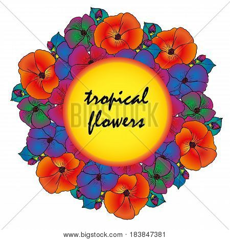 Hawaiian tropical banner with bright colors. Summer banner