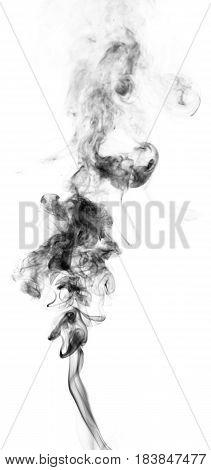 Black fantasy smoke on white background close up