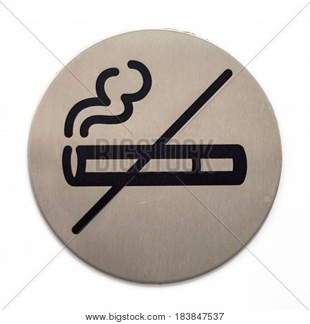 Close-up image of informative no smoking sign on white background