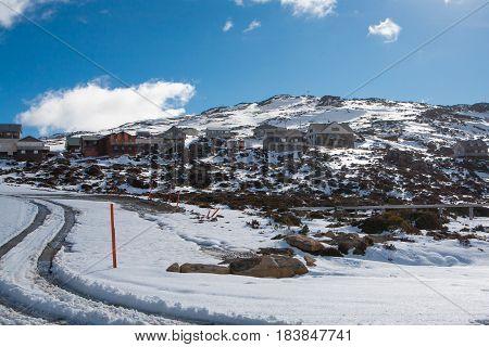 Ben Lomond ski village on a quiet winter's day in Tasmania, Australia