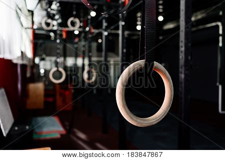 Gymnastic rings in the gym. Sports rings