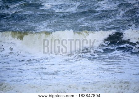 Powerful waves on the coast of Black Sea during storm
