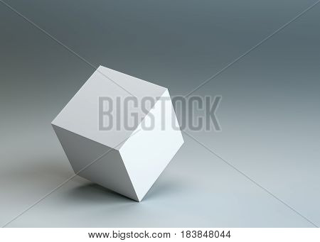 A white empty cube stands on the corner. Dark blue background. 3D illustration