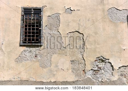 Old Abandoned Building Wall With Locked Windows