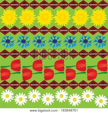 Dandelion chamomile cornflower and tulip seamless ethnic abstract pattern;