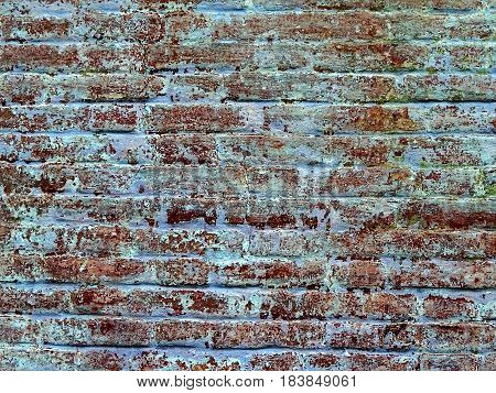 Texture of red brick wall of a private house