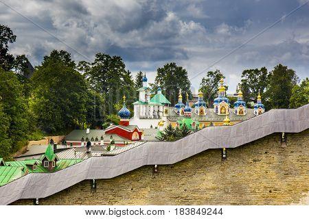 View on The Pskovo-Pechersky Dormition Monastery, Pskov region, Russia