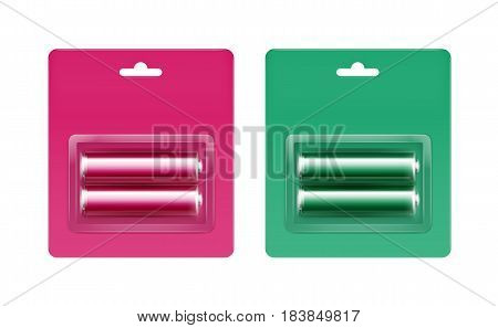 Vector Set of Pink Magenta Green Glossy Alkaline AA Batteries in Pink Magenta Green Blister Packed for branding Close up Isolated on White Background