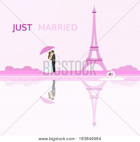 Just married - wedding. Bridal couple in Paris with umbrella. Eiffel tower in the background and swans in love. Pink shade.