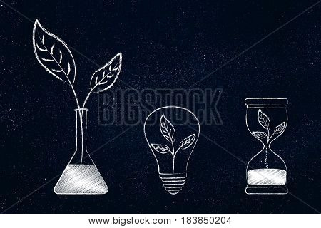 Lab Bottle, Lightbulb And Hourglass With Leaves Inside