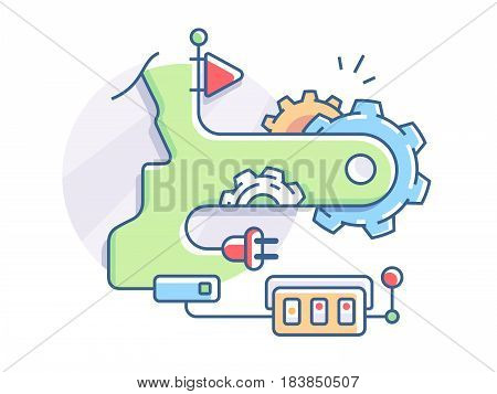 Setting and adjustment of mechanical device operation. Vector flat illustration