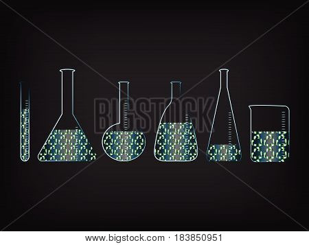 lab bottles with recycle symbol fill, concept of green economy innovation and experiments