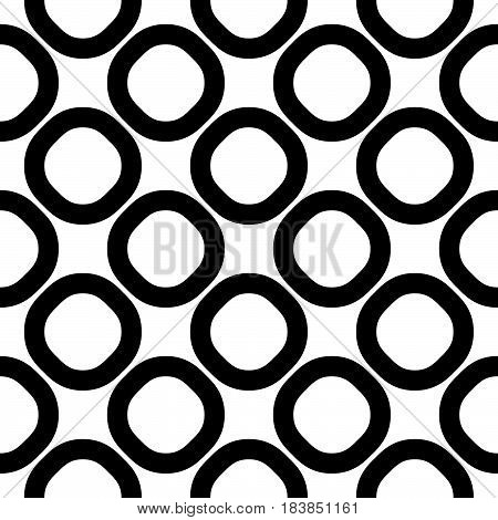 Vector seamless pattern, black & white geometric background, big staggered rings & circles. Simple abstract shapes, monochrome texture, repeat tiles. Design for prints, home decor, textile, furniture