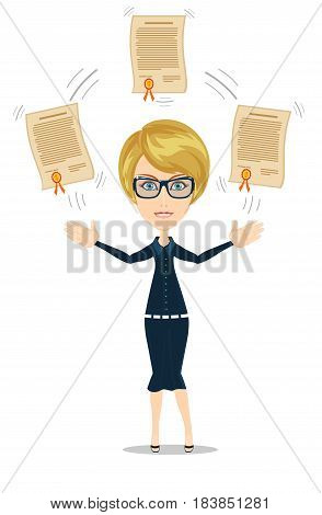 Businesswoman proudly standing and showing a diploma. Paper Graduation Award with Gold Medal. Certificate for first place