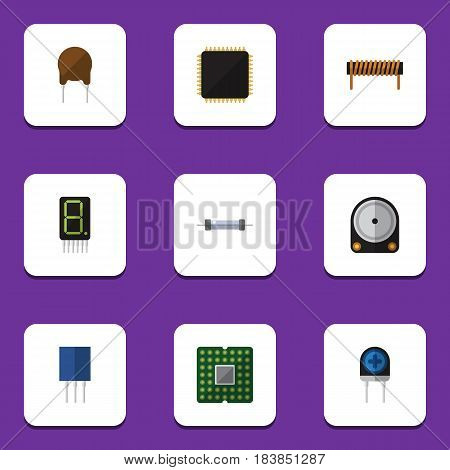 Flat Technology Set Of Resistor, Hdd, Transducer And Other Vector Objects. Also Includes Display, Fiildistor, Electronics Elements.