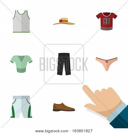 Flat Clothes Set Of Male Footware, Casual, Pants And Other Vector Objects. Also Includes Underwear, Uniform, Man Elements.