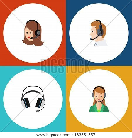 Flat Call Set Of Telemarketing, Earphone, Secretary And Other Vector Objects. Also Includes Support, Call, Online Elements.