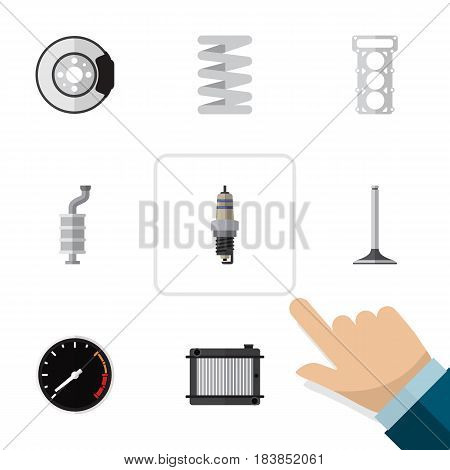 Flat Auto Set Of Tachometr, Car Segment, Heater And Other Vector Objects. Also Includes Speedometer, Muffler, Segment Elements.